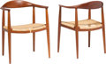 Furniture , Hans J. Wegner (Danish, 1914-2007). Pair of The Chairs, designed 1949, 1950s, Johannes Hansen. Oak and woven cane. 30 h ... (Total: 2 Items)