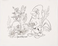 Animation Art:Production Drawing, Foghorn Leghorn, Henry Hawk, Tweety Bird and Speedy GonzalesDrawing Signed by Tom McKimson (Warner Brothers, 1980s)....