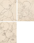 Original Comic Art:Miscellaneous, Robert McKimson - Porky Pig Coloring Book Illustrations Group of 3(Whitman/Warner Brothers, c. 1950s).... (Total: 3 Original Art)