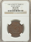 Colonials, 1787 CENT Fugio Cent, STATES UNITED, 4 Cinquefoils, Pointed Rays, MS62 Brown NGC. N. 13-X, W-6855, R.2....