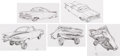 "Animation Art:Concept Art, Cars ""Ramone"" Character Design Drawings by Carson Van OstenOriginal Art Group of 5 (Disney/Pixar, 2006).... (Total: 5 OriginalArt)"