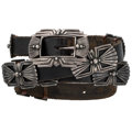 Estate Jewelry:Other, Sterling Silver Leather Concho Belt, David Dear, Cherokee . ...