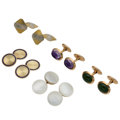 Estate Jewelry:Cufflinks, Multi-Stone, Mother-of-Pearl, Enamel, Gold Cufflinks . ... (Total:5 Items)