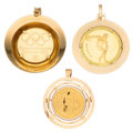 Estate Jewelry:Pendants and Lockets, Olympic Gold Coin, Gold Pendants. ... (Total: 3 Items)