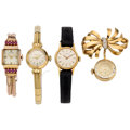 Estate Jewelry:Watches, Lady's Diamond, Ruby, Gold Watches. ... (Total: 4 Items)