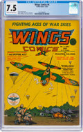 Golden Age (1938-1955):War, Wings Comics #4 (Fiction House, 1940) CGC VF- 7.5 Cream tooff-white pages....
