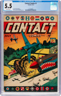 Golden Age (1938-1955):War, Contact Comics nn (#1) (Aviation Press, 1944) CGC FN- 5.5 Off-white pages....