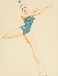 George Petty (American, 1894-1975) Beauty on Ice, Ice Capades program cover, 1942 Watercolor on boar