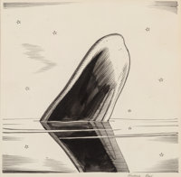 Rockwell Kent (American, 1882-1971) O Nature, Moby Dick or The Whale interior illustration, 1937 Ink