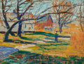 Fine Art - Painting, American, Ernest Lawson (American, 1873-1939). Country Farmhouse,circa 1915-20. Oil on board. 8-3/4 x 11-1/2 inches (22.2 x 29.2 ...