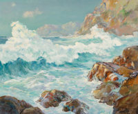 Dedrick B. Stuber (American, 1878-1954) Crashing Waves Oil on canvas 25 x 30 inches (63.5 x 76.2