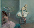 Paintings, Moses Soyer (American, 1899-1974). Resting Dancer on High Stool. Oil on canvas. 30 x 36 inches (76.2 x 91.4 cm). Signed ...