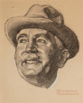 Works on Paper, Norman Rockwell (American, 1894-1978). Head of a Man. Charcoal and gouache on board. 7-1/2 x 6-1/4 inches (19.1 x 15.9 c...