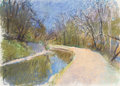 Fine Art - Painting, American, Wolf Kahn (American, b. 1927). Bend in the Chesapeake & OhioCanal. Pastel on paper. 20-1/2 x 28-1/2 inches (52.1 x 72.4...