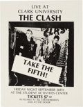 Music Memorabilia:Posters, Clash Clark University Concert Small Poster (1979). Very Rare....