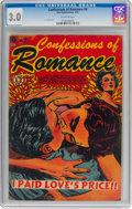 Golden Age (1938-1955):Romance, Confessions of Romance #9 (Star Publications, 1954) CGC GD/VG 3.0 Off-white pages....