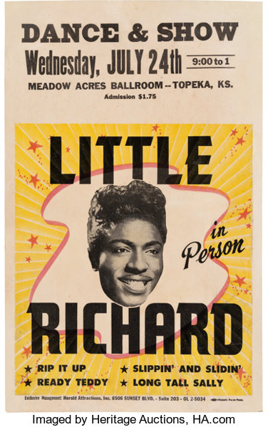 Music Memorabilia:Posters, Little Richard Meadow Acres Ballroom Concert Poster (1957). Very Rare....