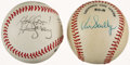 Autographs:Baseballs, Announcing Greats: Vin Scully & Harry Caray Single SignedBaseballs with Scully Signed Stamp Sheet.... (Total: 2 items)