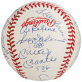 Autographs:Baseballs, Hall of Fame Multi-Signed Baseball (21 Signatures) with Mantle,Mays, & Aaron....