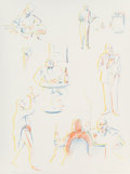 Fine Art - Work on Paper:Print, Wayne Thiebaud (b. 1920). Cafe Sketches, from ThePhysiology of Taste series, 1994. Lithograph in colors on wovepap...