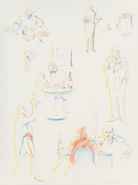 Wayne Thiebaud (b. 1920) Cafe Sketches, from The Physiology of Taste series, 1994 Lithogr