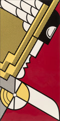 Prints & Multiples, Roy Lichtenstein (1923-1997). Salute to Aviation, 1968. Screenprint in colors on smooth white wove paper. 43 x 21-5/8 in...