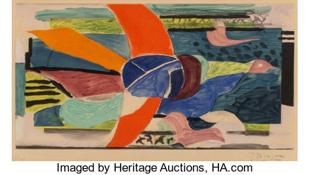 Georges Braque (1882-1963)L'oiseau multicolore, c. 1950Aquatint in colors on Rives paper10-3/8 x 19-1/8 inches (26...