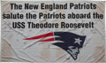 Football Collectibles:Others, 2001 USS Theodore Roosevelt Flag Signed by the Super Bowl Champion New England Patriots....