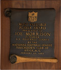 Football Collectibles:Others, 1967 Touchdown Club of Utica NFL Most Valuable Player Award Presented to Joe Morrison....
