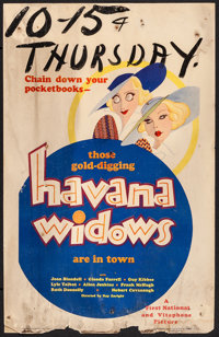 "Havana Widows (Warner Brothers, 1933). Window Card (14"" X 22"") Al Hirschfeld Artwork. Comedy"