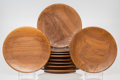 Decorative Arts, Continental:Other , Danish School (20th Century). Ten Footed Plates, circa 1960.Teak. 1-3/4 x 12-1/8 x 12-1/8 inches (4.4 x 30.8 x ... (Total: 10Items)
