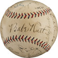 Baseball Collectibles:Balls, 1930 New York Yankees Team Signed Baseball with Two Lou GehrigSignatures!...