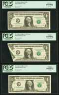 Error Notes:Foldovers, Foldover Error Fr. 1916-K $1 1988A Federal Reserve Note with TwoBookends PCGS Graded.. ... (Total: 3 notes)