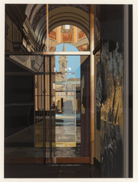 Richard Estes (b. 1932) Cathedral, 1981 Screenprint in colors, on Fabriano Cotone paper 20 x 14-5