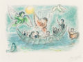 Prints & Multiples, Marc Chagall (1887-1985). Les sirènes, from L'Odyssée I, 1975. Lithograph in colors on Japon nacre. 16 x 24-1/2 inch...