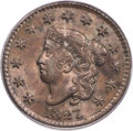 Large Cents, 1827 1C N-11, R.1, MS64 Brown PCGS. CAC....