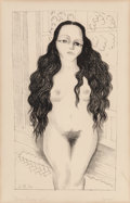 Fine Art - Work on Paper:Print, Diego Rivera (1886-1957). Nude with Long Hair (DoloresOlmedo), 1930. Lithograph on thin tan paper. 16-1/2 x 9-1/2inche...