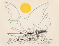 After Pablo Picasso Dove of Peace, 1962 Offset lithograph in colors on Rives BFK paper, laid down o