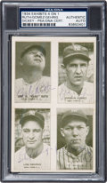 Baseball Collectibles:Others, 1934 Exhibits 4 on 1 Babe Ruth, Lefty Gomez, Lou Gehrig & BillDickey Signed Trading Card, PSA/DNA Authentic....