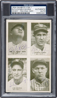 1934 Exhibits 4 on 1 Babe Ruth, Lefty Gomez, Lou Gehrig & Bill Dickey Signed Trading Card, PSA/DNA Authentic