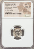 Ancients:Roman Imperial, Ancients: Tiberius (AD 14-37). AR denarius (17mm, 3.68 gm, 1h). NGCChoice VF 4/5 - 2/5, bankers mark....