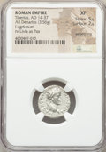 Ancients:Roman Imperial, Ancients: Tiberius (AD 14-37). AR denarius (17mm, 3.56 gm, 11h).NGC XF 5/5 - 2/5, smoothing....