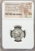 Ancients:Oriental, Ancients: PARTHIAN KINGDOM. Orodes II (57-38 BC). AR drachm (21mm, 4.05 gm, 12h). NGC Choice XF 4/5 - 4/5. ...