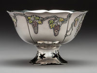 A Japanese Enameled Silver Lotus-Form Bowl with Wisteria Motifs, Meiji Period, circa 1868-1912 Marks: (Jungin mark