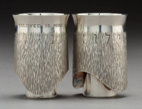 A Moshe Zabari Silver Double Marriage Cup, designed 1967 Marks: (artist's cipher) M, ZABARI, STERLING 4-1/4 x 1