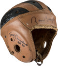 Football Collectibles:Helmets, 1940's Canadeo, Trippi, Baugh and Lattner and Baugh Multi-Signed Leather Helmet....