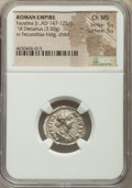 Ancients:Roman Imperial, Ancients: Faustina Junior (AD 147-175/6). AR denarius (20mm, 3.50 gm, 7h). NGC Choice MS 5/5 - 5/5....