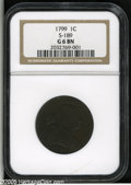 Large Cents: , 1799 1C Good 6 NGC. S-189, High R.2. All legends are legible onthis collectible deep mahogany brown key date Cent. The bot...