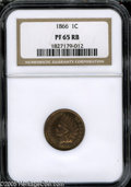 Proof Indian Cents: , 1866 1C PR65 Red and Brown NGC. One of an estimated 725 pieces struck in proof format in 1866. Coppery-gold patina displays...