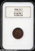 Proof Indian Cents: , 1884 1C PR66 Red and Brown NGC. A needle-sharp Premium Gem that displays bright medium orange patina with a splash or two o...